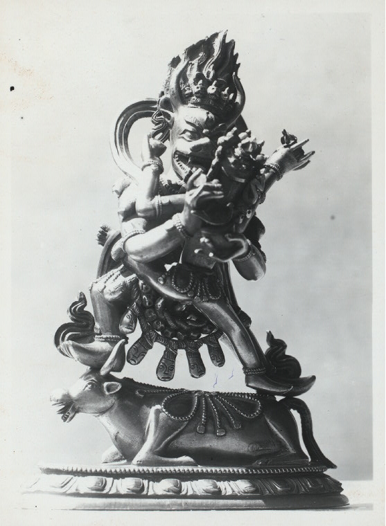 Java: Antiquities. Origin unknown. Hindu and Buddhist subjects. Yellow copper Bhaiwara [Bhairava?] with his cakti in Yab-Yum. Coll. of Mr. Mullem, Djakarta. Photo: Lembaga Purbakala D.P. #4192 (ordered by A. Atwell).