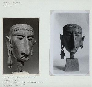 """Maluku Islands. Antiquities. Head from Tanimbar, South Moluccas. Wood, 10"""" high. Collection: Rijksmuseum voor Volkenkunde, Leiden."""