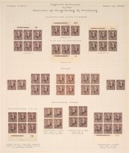 8c violet brown Sherman strip of three