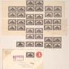 10c gray violet Hardships of Emigration block of four