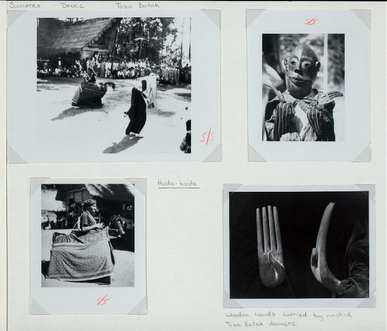 Sumatra - Dance. Toba Batak. Hoda-hoda. Wooden hands carried by masked Toba Batak dancers.