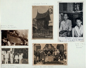 "Unloading Kerosene. Belawan Deli, Sumatra (top left); ""Part of my servants"", Medan, Sumatra, 9 November 1930 (bottom left); Padi-schuur. West Coast, Sumatra (top center); Wedding, East Coast, Sumatra (bottom right); Vendor of Kain, Palembang, Sumatra (extreme right)."