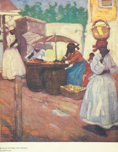 Stalls outside the market, Mandeville.