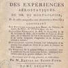 Premier suite de la description des expériences aérostatiques de MM. de Montgolfier, title page