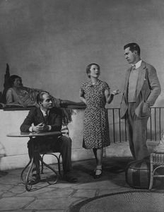 "Ruthelma Stevens, Franchot Tone (at table), Ruth Gordon and Glenn Anders in Philip Barry's ""Hotel Universe"". Theatre Guild Production. NYC: Martin Beck Theatre. 1930."