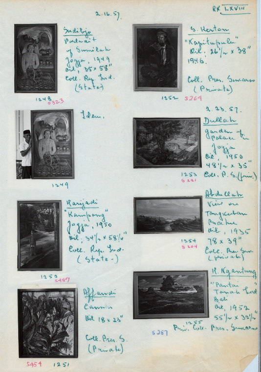 1248-55. Paintings by Sudibjo (Sudibio], Harijadi, Affandi, S. Kerton, Dullah, Abdullah and H. Ngantung. 2.16.57.