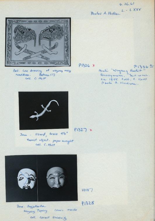 """P1326. Bali. Line drawing of wayang wong headdress. Batuan (?) Coll.: C. Holt; P1327. Java. Lizard, brass, 4-1/2"""", tourist object - paper weight. Coll. : C. Holt; P1328. Java - Jogjakarta. Wayang Topeng. Comic masks. Coll. : Cornell University."""