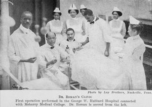 Dr. Roman's clinic; First Operation performed in the George W. Hubbard Hospital connected with Meharry Medical College; Dr. Roman is second from the left; Photo by Lay Brothers, Nashville, Tenn.
