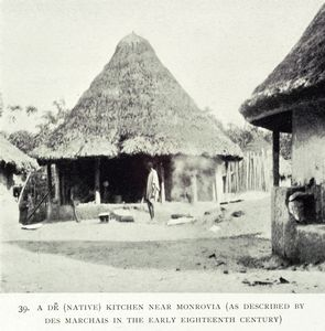 A De [native] kitchen near Monrovia [as described by Des Marchais in the early Eighteenth century.]