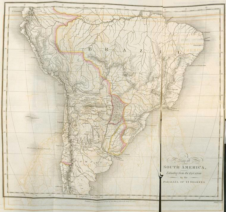 Map of South America, extending from the equator to the parallel of 44 degrees.