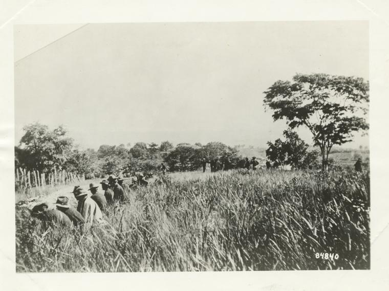 Sixth Cavalry in front line trenches during attack on San Juan Hill, July 1, 1898