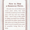 How to Stop a Runaway Horse