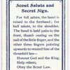 Scout Salute and Secret Sign.