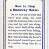 How to Stop a Runaway Horse.
