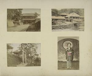 Views and a Japanese Woman : A Temple, Torii (a Sacred Arch), a Row of Houses, and a Japanese Woman with an Umbrella