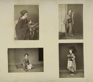 Japanese Women Wearing Kimono : Playing Origami (Paper Folding), Combing Her Hair, Writing, and Having an Umbrella