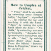 How to Umpire at Cricket.