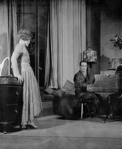 Muriel Kirkland as Isabelle Parry and Tullio Carminati as Count Di Ruvo. Setting by Sovey, Avon Theatre, NYC.