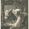 [Un vieux paysan présente une poignée de foin a son âne.]