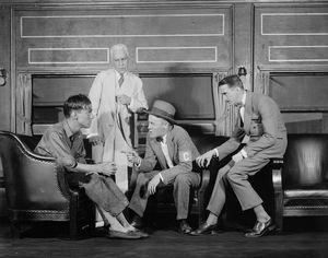 L to R: Allen Vincent (Charles Parkman), Fritz Williams (Martin Henderson), ?? , and Osgood Perkins (Joe Cobb).