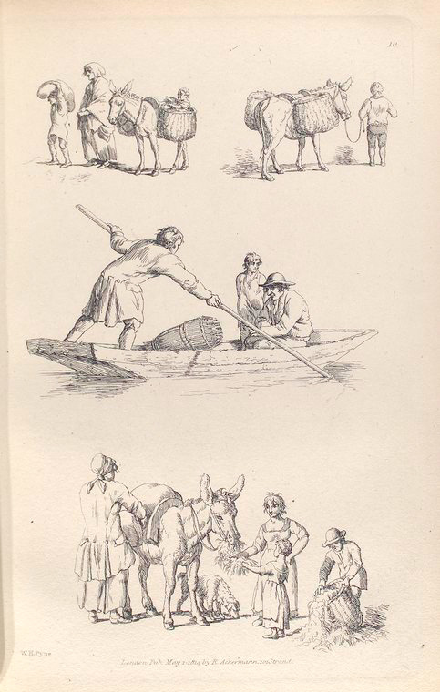 [People lead a donkey carrying baskets. Men on a boat, one man steers with a poll. People feeding hay to a donkey.]