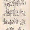 [Marketplace scenes. Men on horses, people selling baskets of fruit, women carrying baskets or sacks.]]