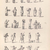 [Women carrying baskets, sacks, or hay. Women with children. Men using walking sticks. Men carrying farming tools or baskets.]]
