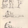 [Men carrying basket, shovel, wood. Two men resting on the ground with a dog. Man feeds slop to pigs.] ]
