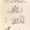 [Fishmongers. Men and women sorting fish from baskets or from a net.]]