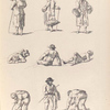 [Men carrying baskets or bundles. Men resting on the ground. Men tying bundles.]]