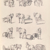 [Horse drawn carts. Horses pulling rollers and barrels on carts or sleds.]]