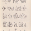 [Marketplace scenes. Donkey drawn carts. Donkeys with baskets. Small family groups walking, pointing, carrying sacks.]]