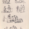 [Marketplace scenes. Men and women gather around baskets of fruit, or sacks. People rest on the ground.]]