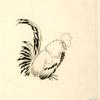 [Décor d'assiette : un coq de profil, tourné à droite.]