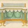 Commode or sideboard with green drapery.