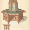 Octagonal writing cabinet and bookcase.