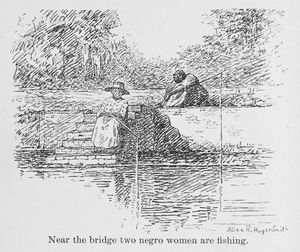 Near the bridge two negro women are fishing.