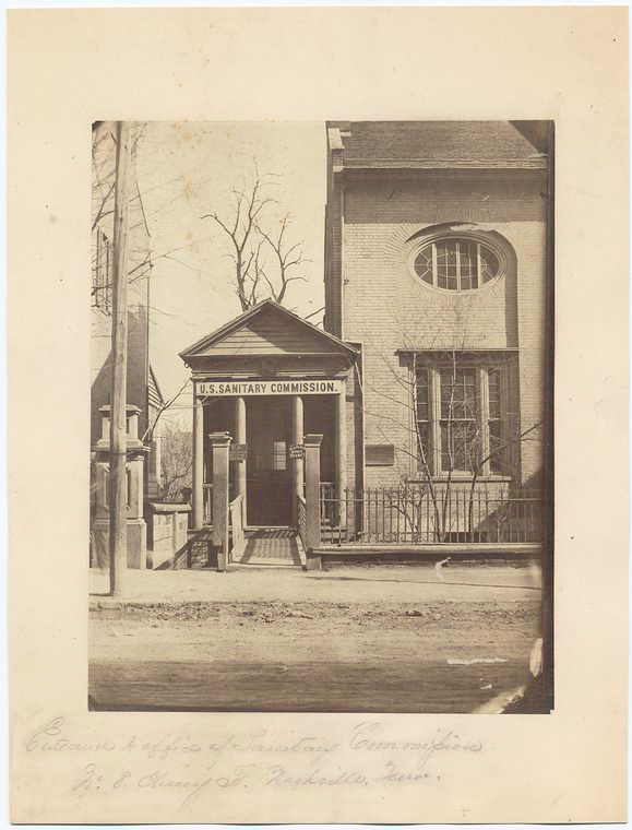 This is What United States Sanitary Commission and Entrance to office of Sanitary Commission. No. 8 Cherry Street Nashville Tenn Looked Like  in 1861