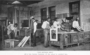 The repair shop.