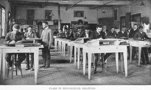 Class in mechanical drawing.