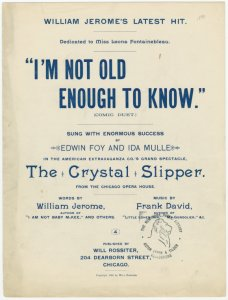 I'm not old enough to know / words by William Jerome ; music by Frank David.