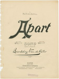Apart / words and music by Beardsley van der Water.