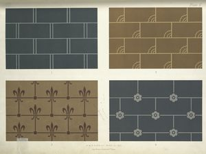 Patterns in dark colours, suitable for the lower portions of walls.
