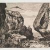 Gorge dans des rochers, d'après Jules Laurens.]