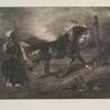 Cheval arabe au piquet, d'après Delacroix.]