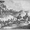 [Men carrying corpse to burial site.]