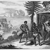 Two men with drums talking to a man standing in entrance of dwelling.]