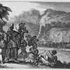 [Men wearing ornate clothing and dress gathered along the edge of river.]