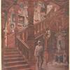 Escalier Louis XIII en chêne sculpté....