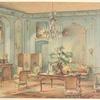 Grand salon Louis XV, peint en gris vert....
